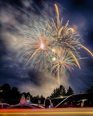 Photograph - Small Town Fireworks Show by Alan Raasch