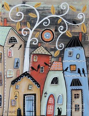 Primitive Folk Art Painting - Small Town by Karla Gerard