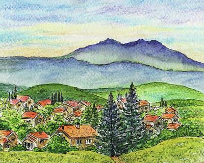 Northern California Painting - Small Town Mountains And Hills by Irina Sztukowski