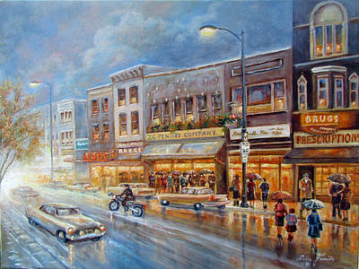 Small Town On A Rainy Day In 1960 Art Print