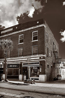 Photograph - Small Town Shops - Sepia by Christopher Holmes
