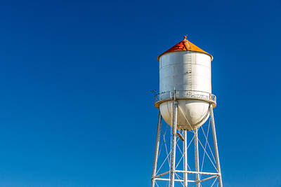Blue Water Photograph - Small Town Water Tower by Todd Klassy
