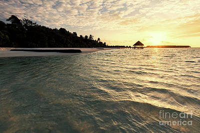Scenic Photograph - Small Tropical Island Resort In Maldives, Indian Ocean by Michal Bednarek