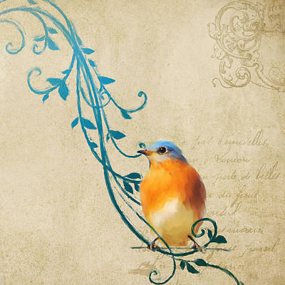 Painting - Small Vintage Bluebird With Leaves by Jai Johnson