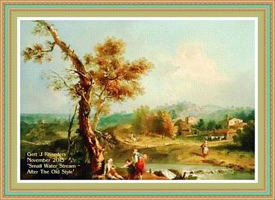 Small Water Stream -  After The Old Style H A With Decorative Ornate Printed Frame. Art Print