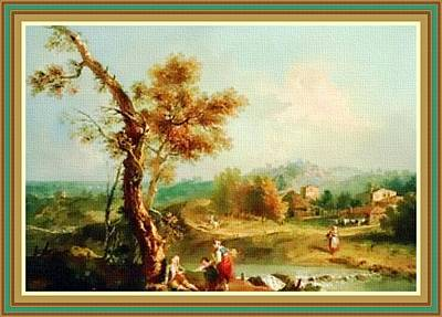 Small Water Stream -  After The Old Style H B With Decorative Ornate Printed Frame. Art Print