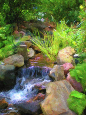 Digital Art - Small Waterfall Lined With Rocks, Green Foilage And Trees by Barbara Rogers