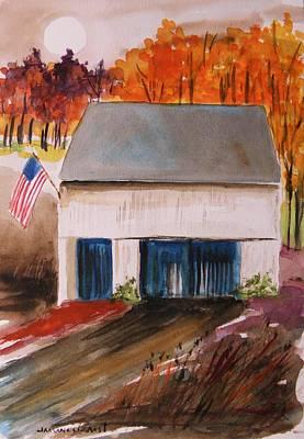 Small White Barn Print by John Williams
