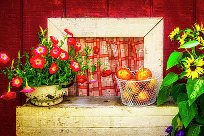 Tiny House Wall Art - Photograph - Small Window With Apples by Garry Gay