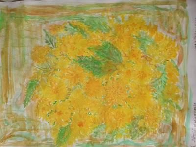 Foulard Painting - Small Yellow Rose by Maria Fiorella Borrini