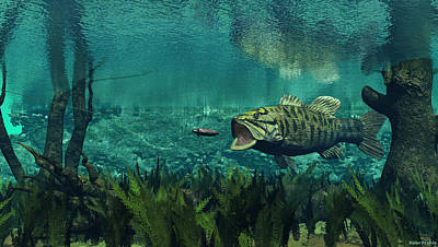 Digital Art - Smallmouth Bass by Walter Colvin