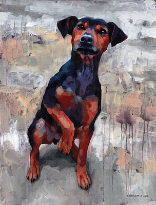 Pooch Painting - Smart Boy by Douglas Simonson