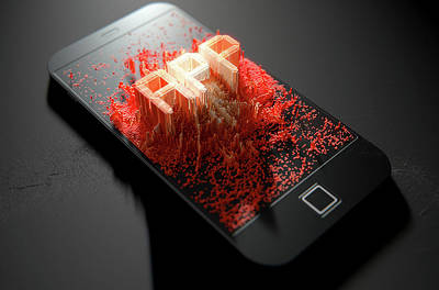 Smart Phone Emanating App Art Print