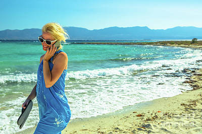 Photograph - Smartphone Beach Woman by Benny Marty