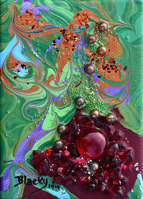 Painted Glass Painting - Smashing A Pomegranate by Donna Blackhall