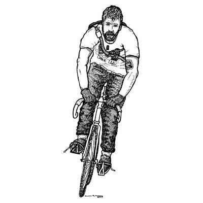 Messenger Drawing - Smashing Bike Messenger by Karl Addison