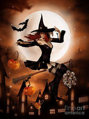 Witch Digital Art - Smashing Pumpkins by Shanina Conway