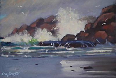 Rockport Massachusetts Painting - Smashing Waves by Len Stomski