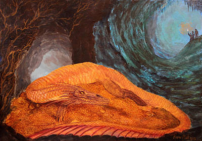Lotr Painting - Smaug The Golden Dragon by Harm  Plat