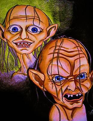 Smeagol Vrs Gollum Art Print by Penny  Elliott