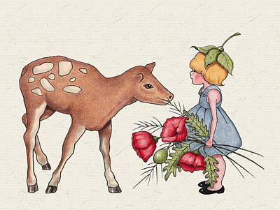 Red Poppies Drawing - Smelling The Flowers by Joyce Geleynse