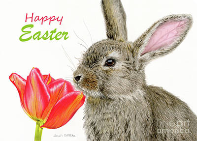 Easter Bunny Painting - Smells Like Spring- Happy Easter Cards by Sarah Batalka