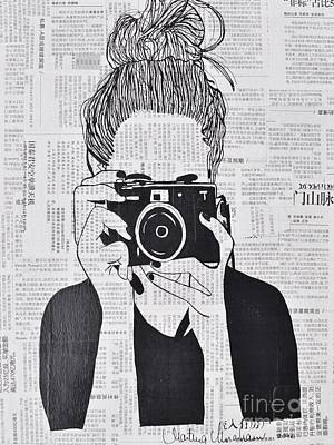 Vintage Camera Drawing - Smile by Martina Niederhauser