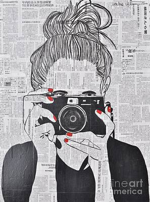 Vintage Camera Drawing - Smile Twice by Martina Niederhauser