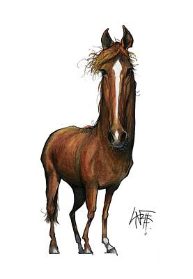Horse Portrait Drawing - Smiley 3321 by John LaFree