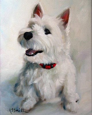 White Dog Painting - Smiley Face by Mary Sparrow
