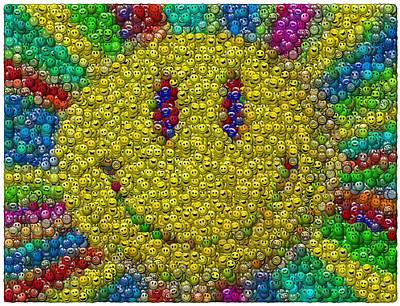 Have A Nice Day Digital Art - Smiley Face Mosaic by Paul Van Scott