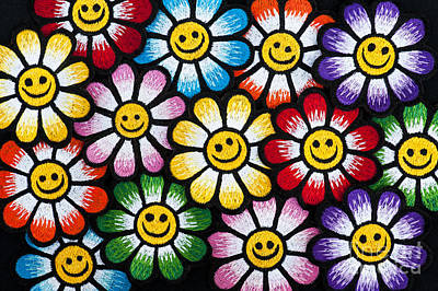 Psychedelic Photograph - Smiley Flower Faces by Tim Gainey