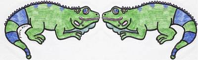 Art Print featuring the drawing Smiley Iguanas by Yshua The Painter