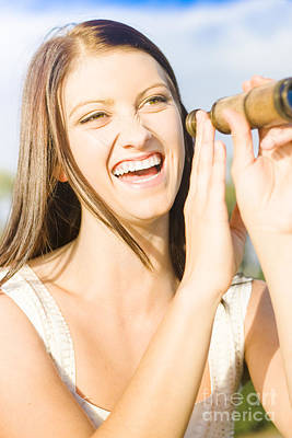 Lively Photograph - Smiling And Laughing Woman Holding Old Fashion Telescope by Jorgo Photography - Wall Art Gallery
