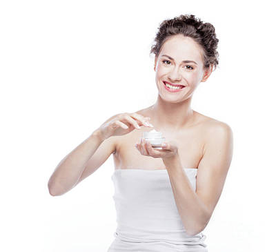Photograph - Smiling, Attractive Woman Using A Moisturizer. by Michal Bednarek
