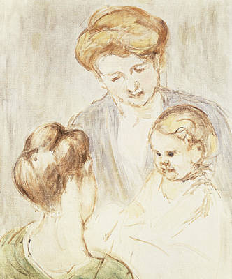 Caring Mother Painting - Smiling Baby With Two Girls by Mary Stevenson Cassatt