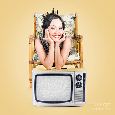 Static Photograph - Smiling Beautiful Woman At Rest On Old Television by Jorgo Photography - Wall Art Gallery