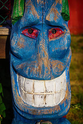 Totem Pole Photograph - Smiling Blue Totem Pole by Garry Gay