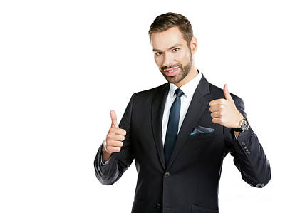 Photograph - Smiling Businessman With Thumbs Up. by Michal Bednarek