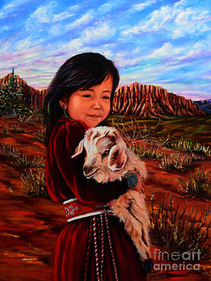 Navajo Children Painting - Smiling Eyes by Mary Whitefeather