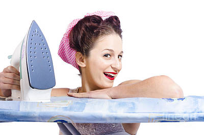 Smiling Housewife Doing Housework Laundry Duties Art Print