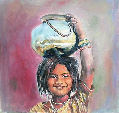 Painting - Smiling Indeed by Khalid Saeed