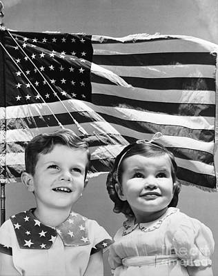 4th July 1776 Photograph - Smiling Kids And American Flag, C.1940s by H. Armstrong Roberts/ClassicStock