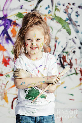 Photograph - Smiling Little Girl With Painting Brush On Messy Background. by Michal Bednarek