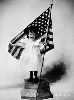Smiling Little Girl With Us Flag Art Print