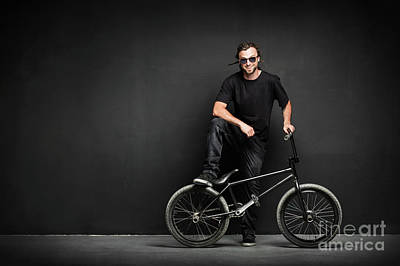 Photograph - Smiling Man With Dreadlocks Standing With His Bmx by Michal Bednarek