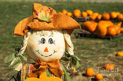 Smiling Scarecrow With Pumpkins Art Print