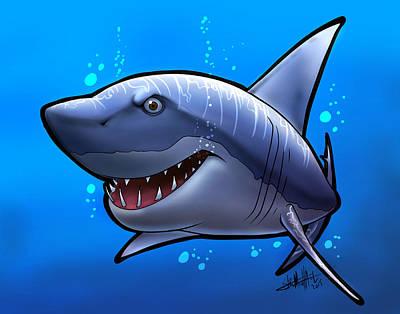 Smiling Shark Print by Tim Michael Ufferman