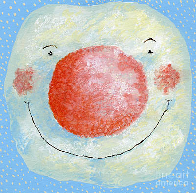 Christmas Card Painting - Smiling Snowman  by David Cooke