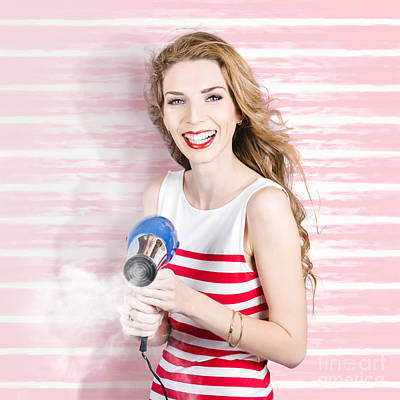 Smiling Stylist With Hair Dryer At Beauty Salon Art Print